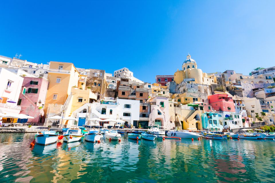 The colorful bay of Naples, Italy