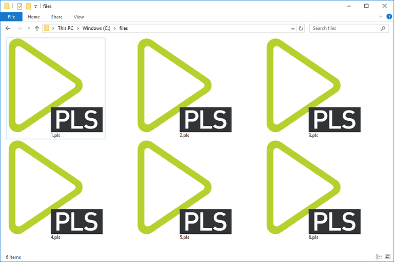 Screenshot of several PLS files in Windows 10 that open with PotPlayer