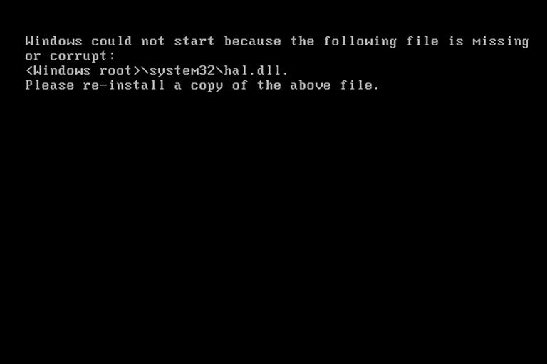 Hal.dll Error Message