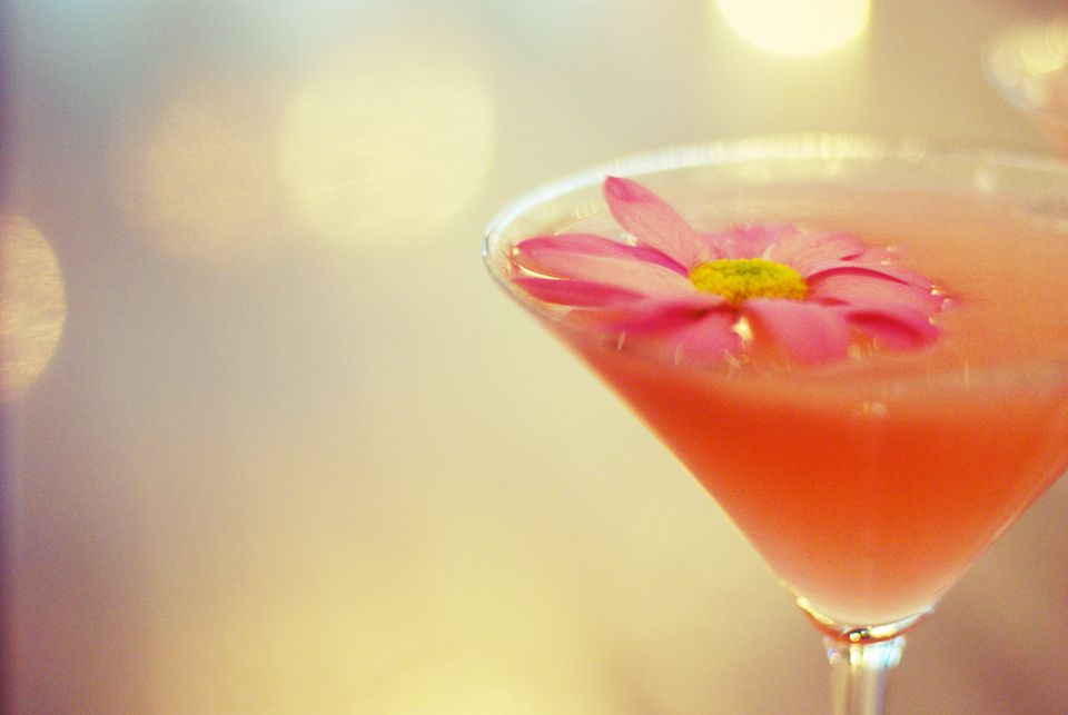 Paulista Cachaca Martini Cocktail with a Pink Daisy