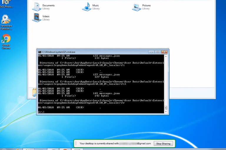 Screenshot of the Chrome Remote Desktop remote access program in Windows 8 connected to Windows 7