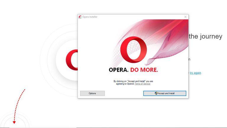 A screen shot of Opera installing.
