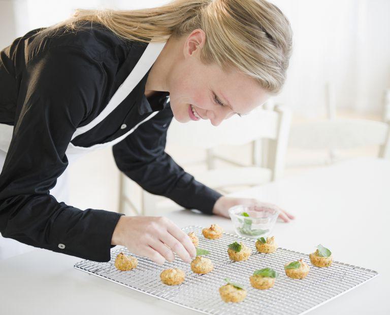 Caterer preparing food