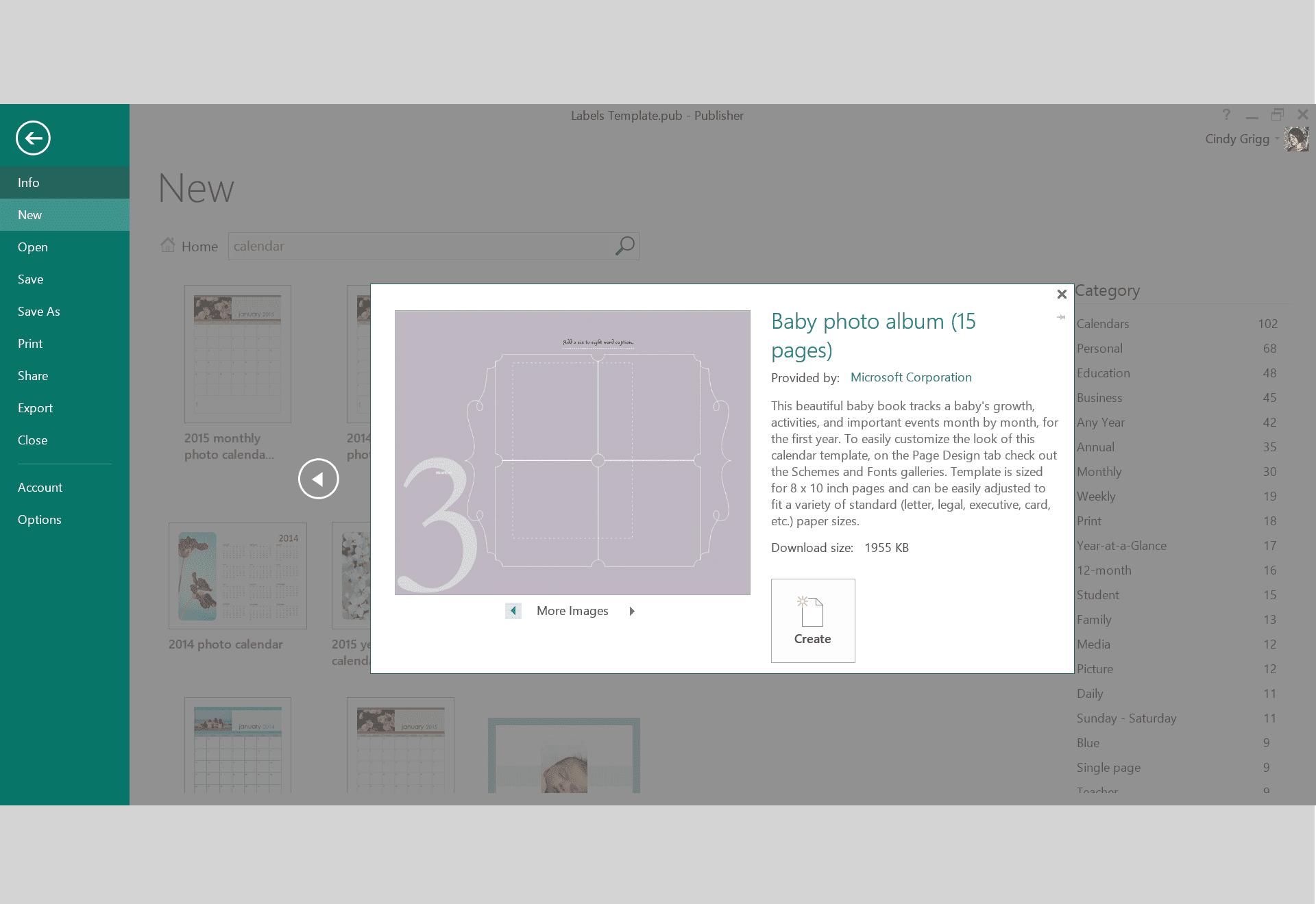 microsoft publisher photo album template