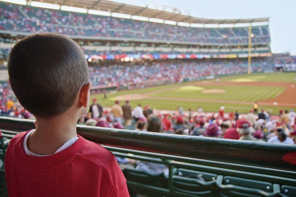 Little boy at baseball game