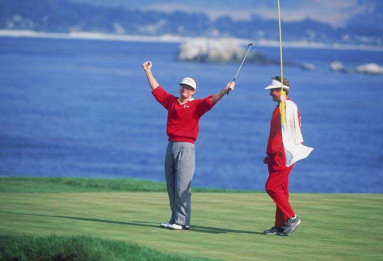 Tom Kite on the 18th green at the 1992 US Open