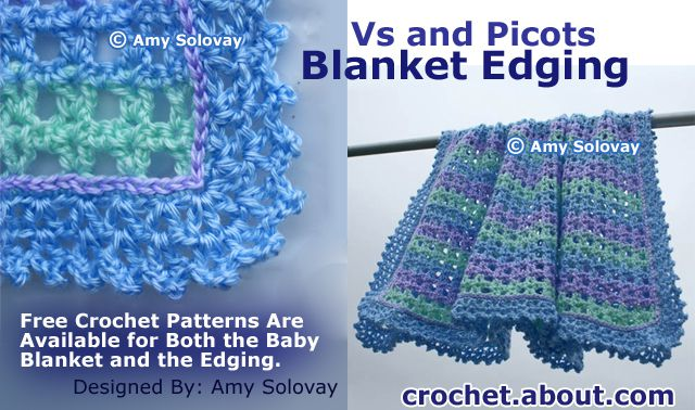 Lacy Vs and Picots Crocheted Baby Blanket Edging