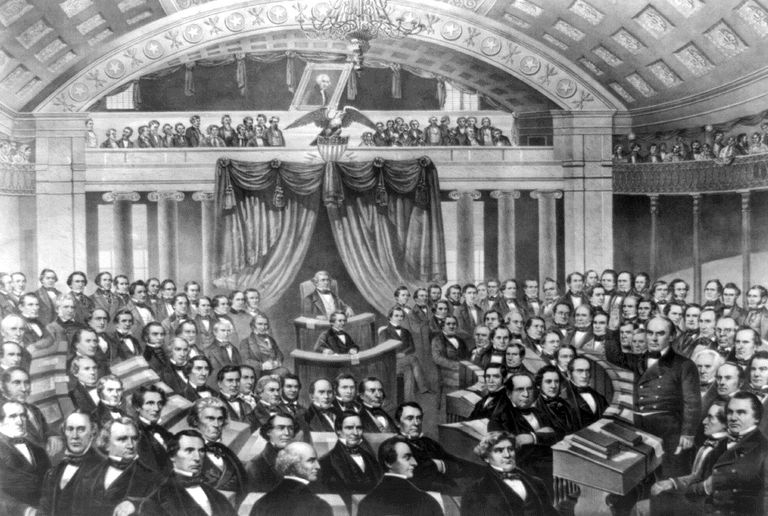 Illustration of Daniel Webster delivering the Seventh of March Speech in 1850