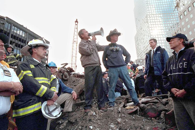 President George W. Bush addressing first-responders at 9/11 attack Ground Zero