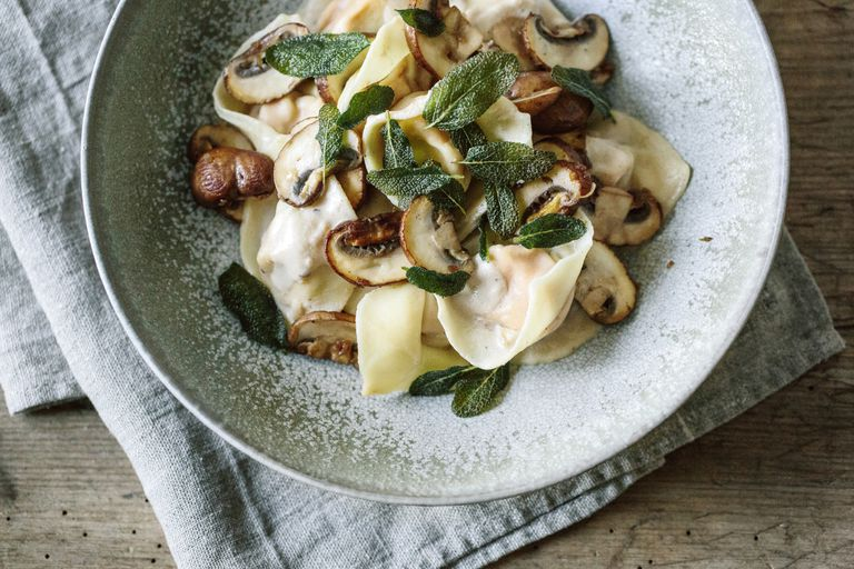 Sage, Pumpkin Tortellini with Brown Mushrooms