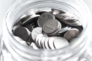 Cent coins in a jar