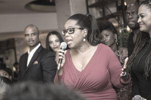 Oprah Winfrey speaking to a crowd