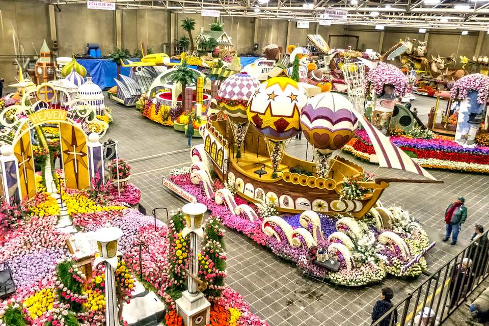 Decorating Floats for the Rose Parade