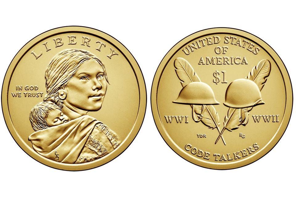 2016 Sacajawea or native American one dollar United States coin