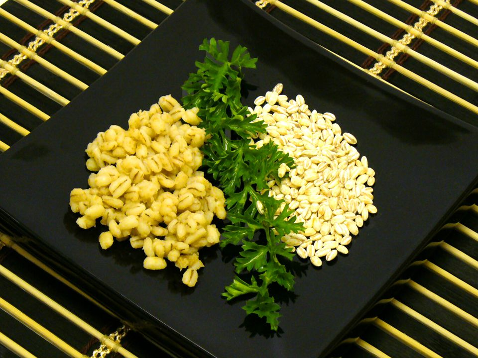 Cooked and dried barley for recipes