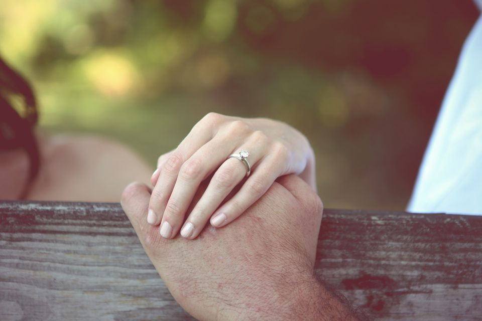 close-up of woman's hand with engagement ring