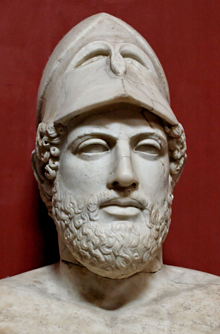 "Bust of Pericles bearing the inscription ""Pericles, son of Xanthippus, Athenian"". Marble, Roman copy after a Greek original from ca. 430 BC."