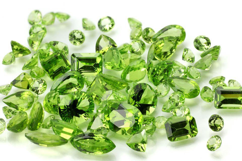 green peridot gemstones