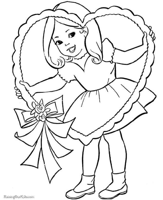 a girl holding a valentines day heart - Valentine Day Coloring Pages