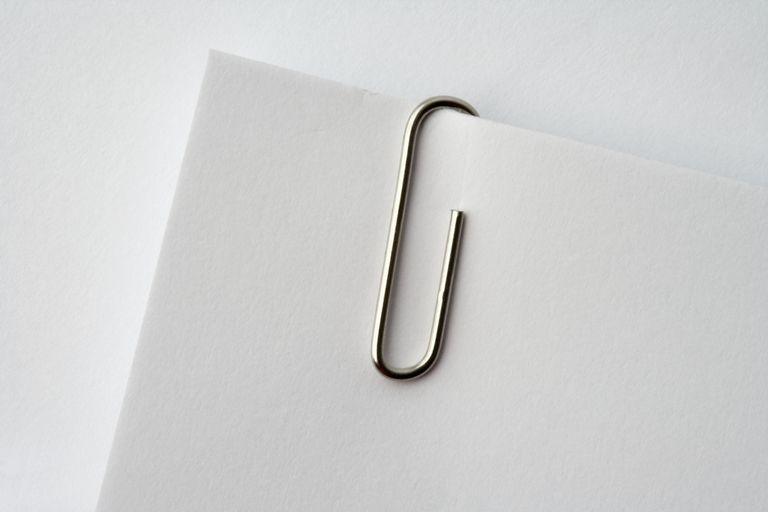 Paper clip on corner of paper