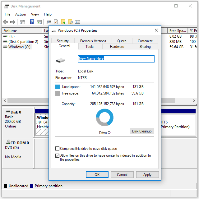 Screenshot showing how to change the volume label from Disk Management in Windows 10
