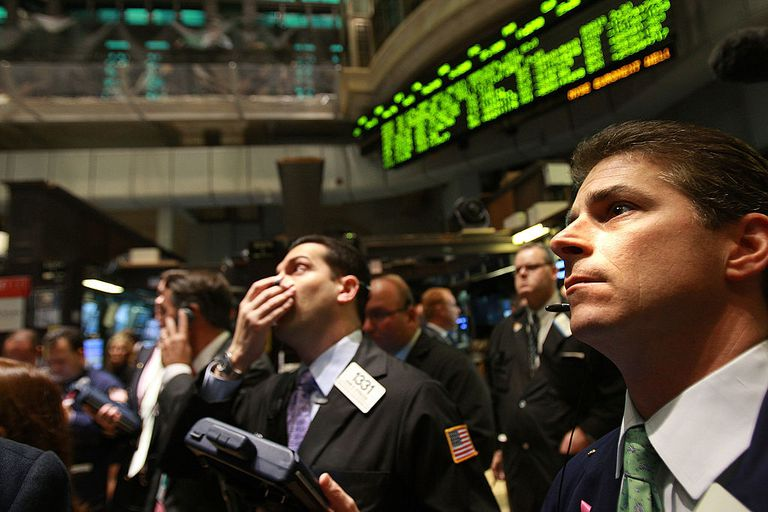 Men on the stock exchange floor