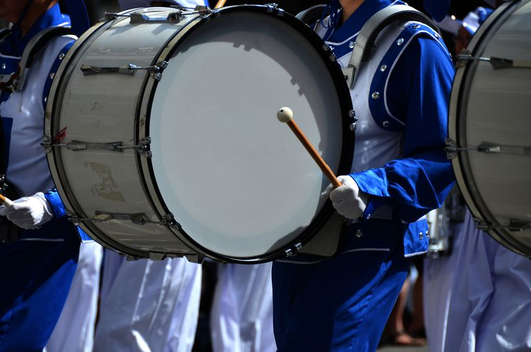 White Bass Drum in Parade