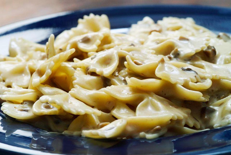 Farfalle pasta with mushrooms