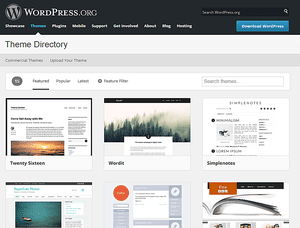 Screenshot of free WordPress themes at WordPress.org