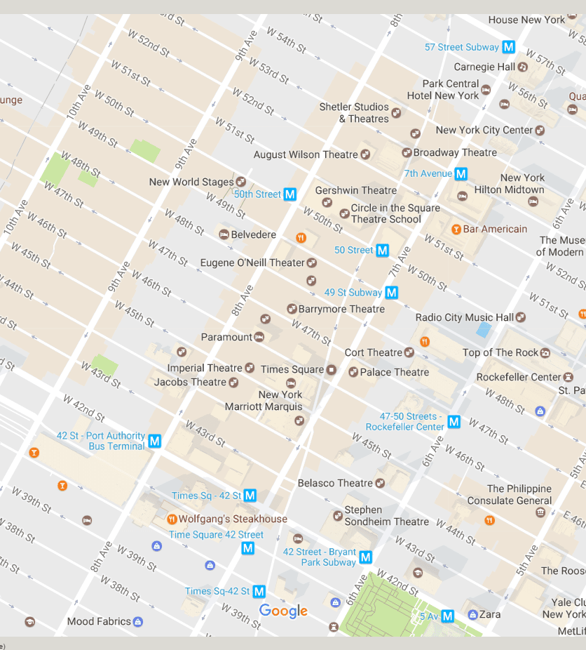 Google Maps Restaurants And Theaters New York City