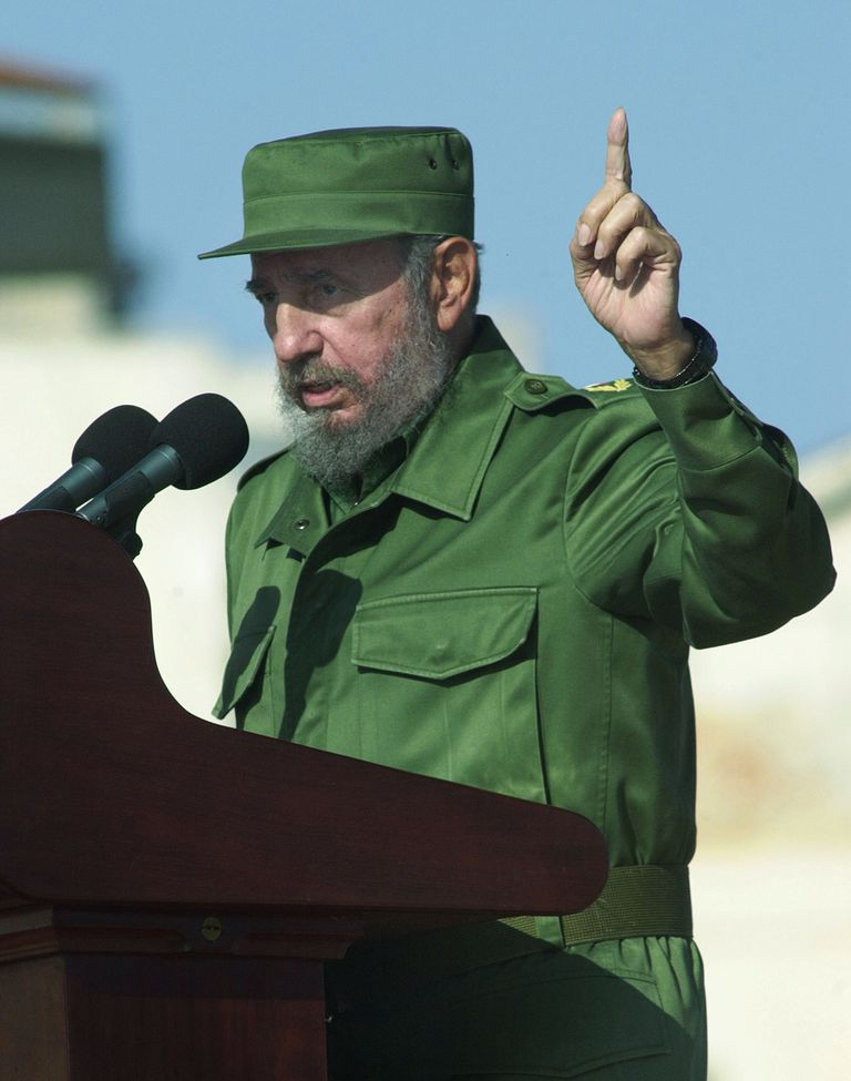 Picture of Fidel Castro speaking during a rally.