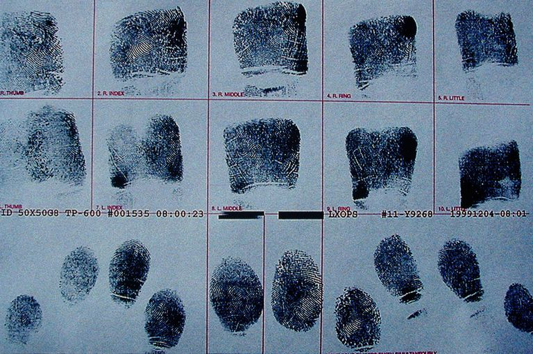 Fingerprints on police arrest record