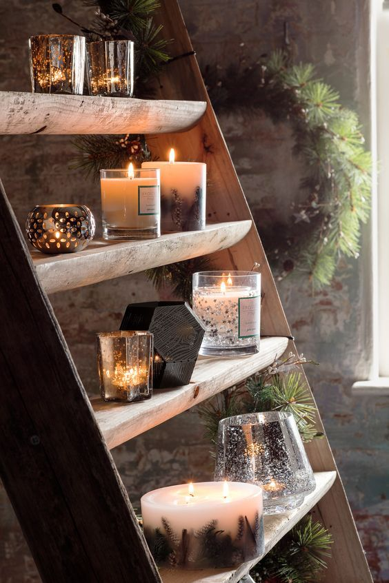 candles on a ladder
