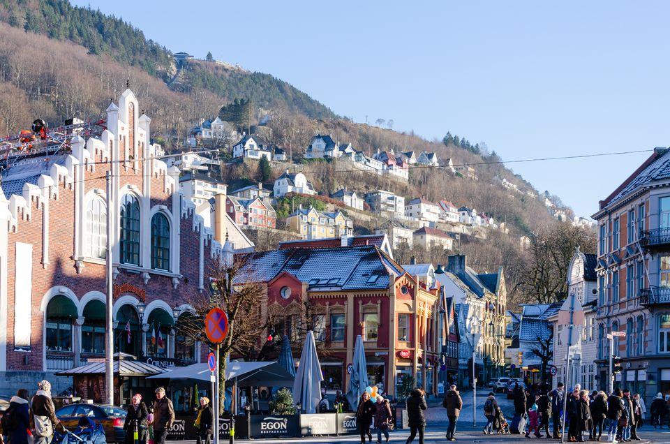 Busy street in Bergen, Norway