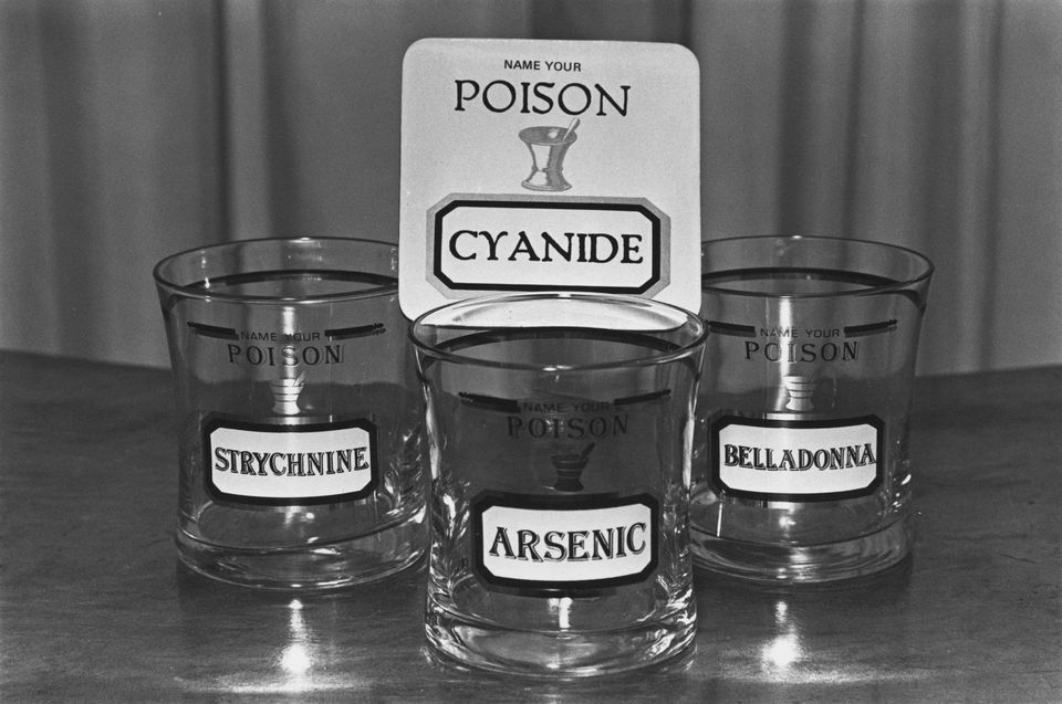 glasses with poison labels including arsenic, belladonna, and strychnine