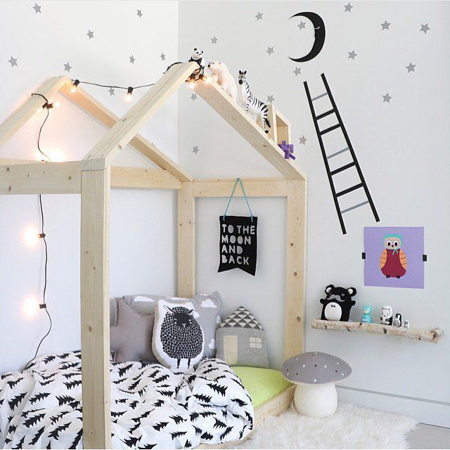 Nordic Style Kids Room With Whimsical House Frame Bed