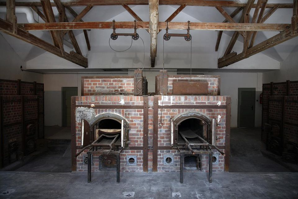 Two of four furnaces, part of the crematorium built in 1942/1943, Dachau Concentration Camp Memorial Site, Dachau, Germany