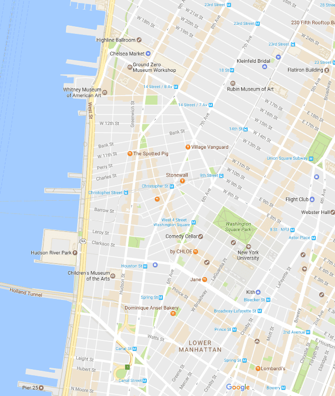 Greenwich and West Village Neighborhood Map