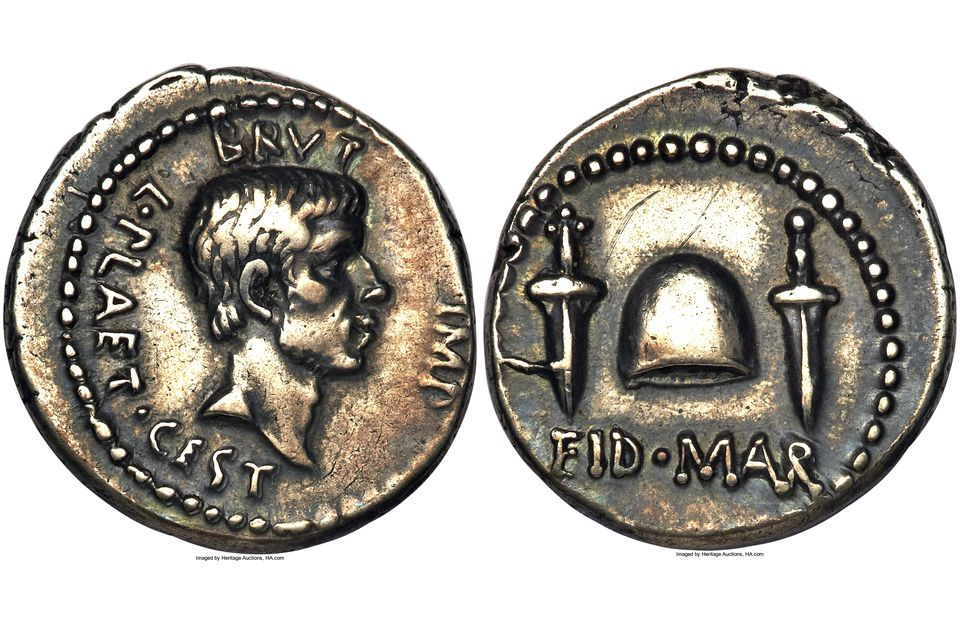 A example of a denarius (obverse and reverse) that is an ancient Roman coin made of silver