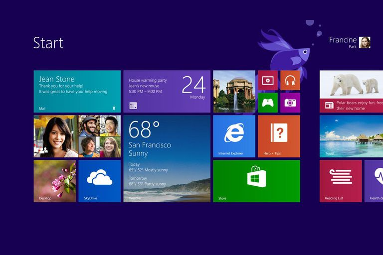 A screenshot of the Windows 8.1 start screen