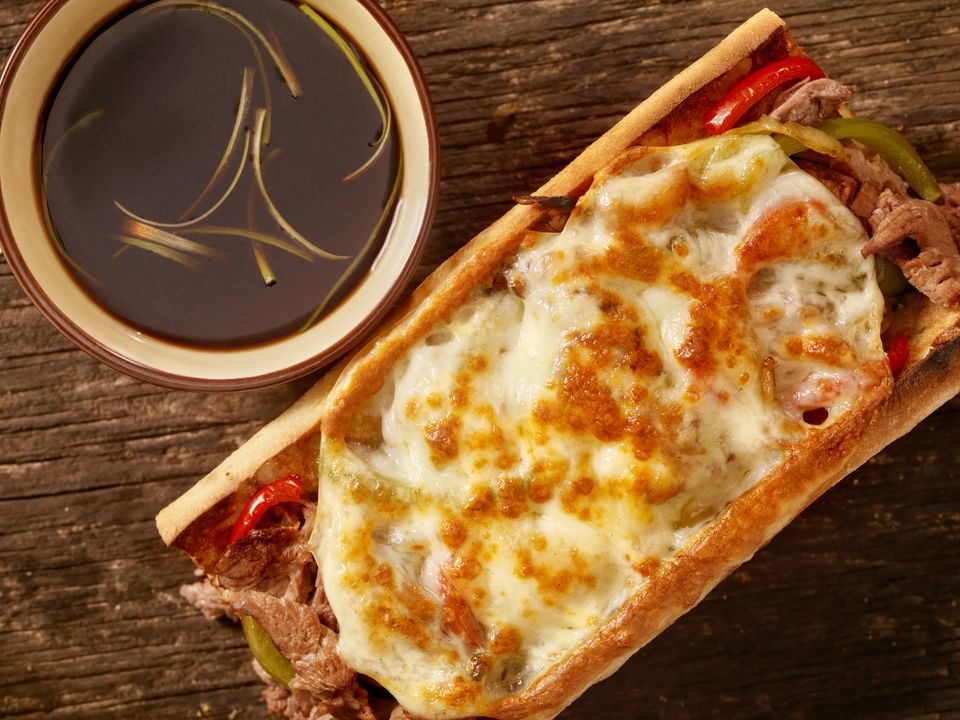 Philly Cheese Steak Sandwich with jus