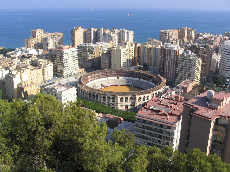 Cityscape including bull fight arena, Malaga
