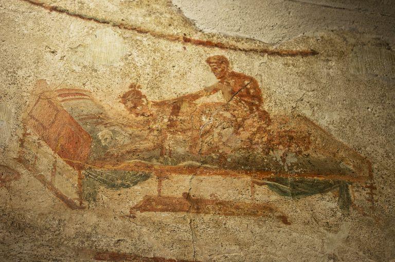 Erotic painting in Pompeii.