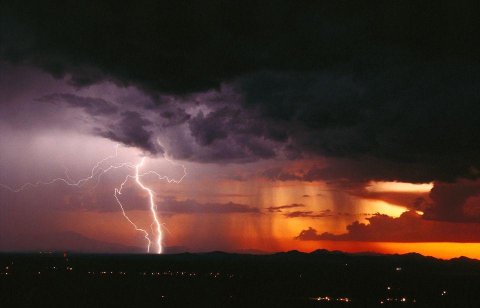 Sunset with rain and lightning. Monsoon Storm in Phoenix, AZ.