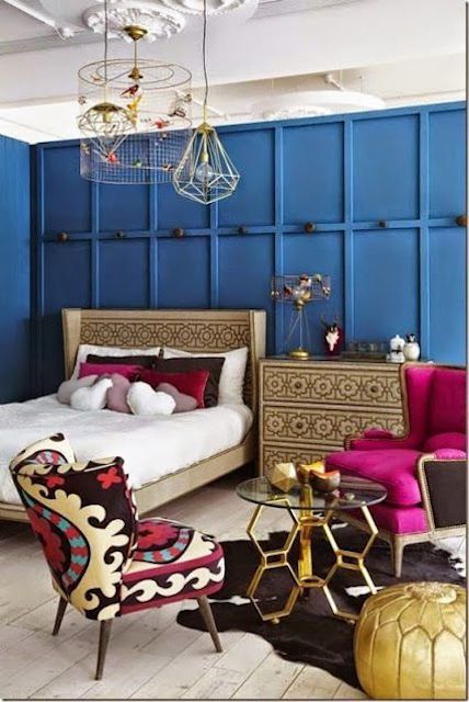 blue panels in the bedroom