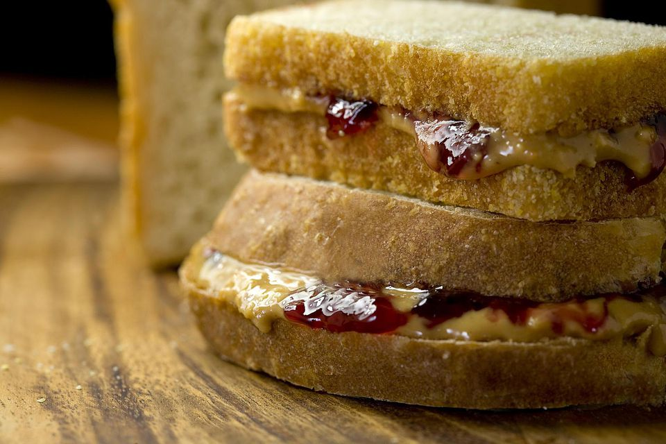Two peanut butter & jelly sandwiches