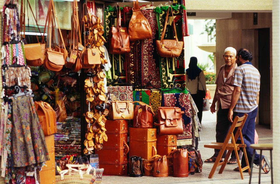 Handbags and leather goods for sale in Arab Street, the Muslim centre of Singapore