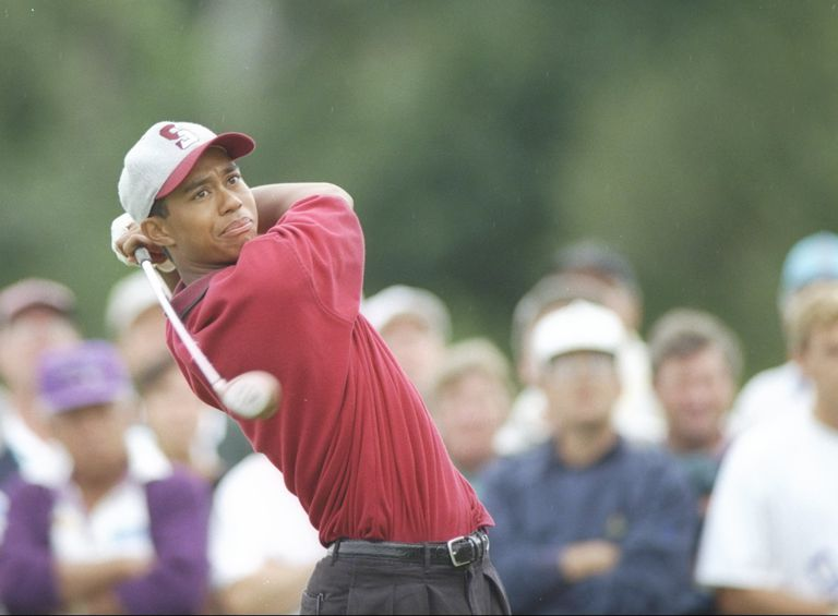 Tiger Woods during the 1995 US Amateur, one of three straight years he won it.