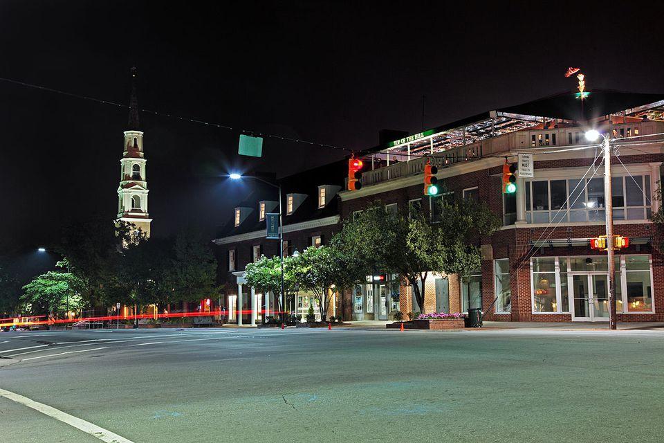 Franklin Street after dark in Chapel Hill.