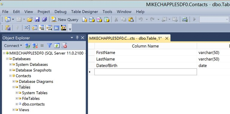 Creating a table with sql server 2012 for Table design sql server